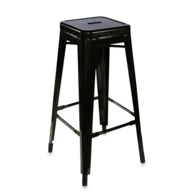 Linon Home Industrial 30-Inch Metal Stool in Black