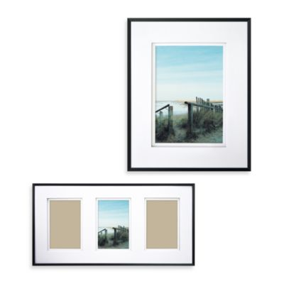 Wall Gallery Sloped Metal 9-Inch x 18-Inch 3-Opening Frame in Black