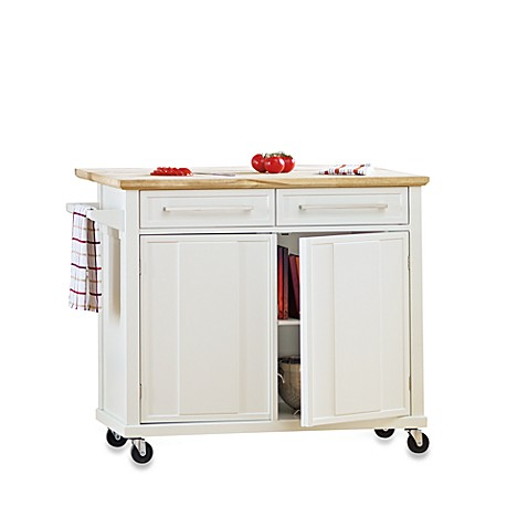 real simple rolling kitchen island in white www bedbathandbeyond