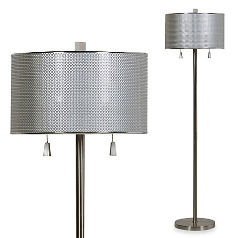 Circles Floor Lamp in Brushed Steel with CFL bulbs