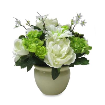 White Hydrangea and Rose Arrangement in Decorative Pot
