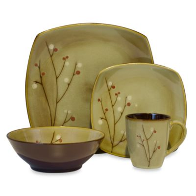 Blossom Brown 16-Piece Dinnerware Set