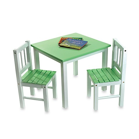 Lipper International Green/White Table & Chairs Set