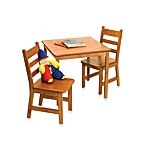 Lipper International Square Table & 2 Chairs Set in Pecan Finish