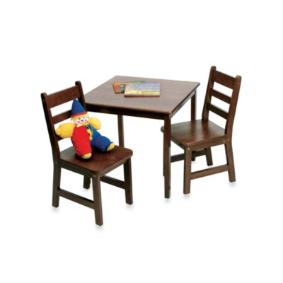 Lipper International Square Table & 2 Chairs Set in Walnut Finish