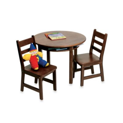 Lipper International Child's Round Table & 2 Chairs Set in Walnut