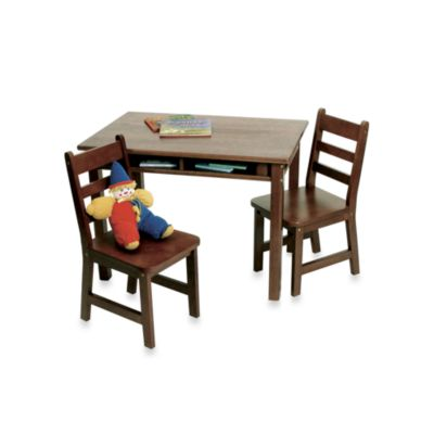 Lipper International Child's Rectangle Table with Shelves & Chairs Set in Walnut