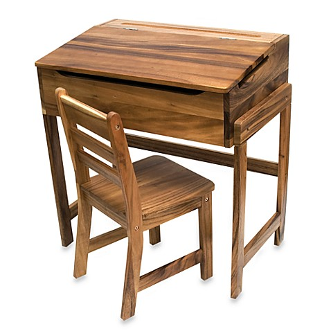Lipper International Slanted Top Desk & Chair in Acacia