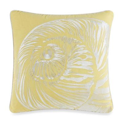 Solid Seashell Yellow Square Toss Pillow