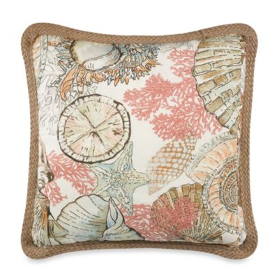 Solid Seashell Blue Square Throw Pillow