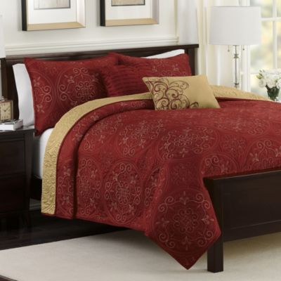 Medallion 5-Piece Reversible King Quilt Set in Claret