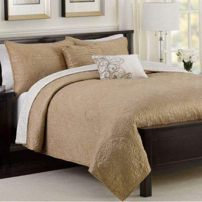 Medallion 5-Piece Reversible Full/Queen Quilt Set in Taupe