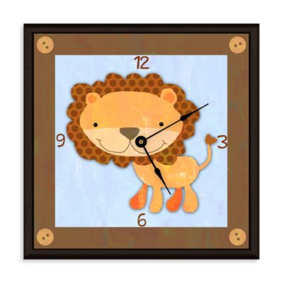 Green Leaf Art Baby Lion Decorative Art Clock