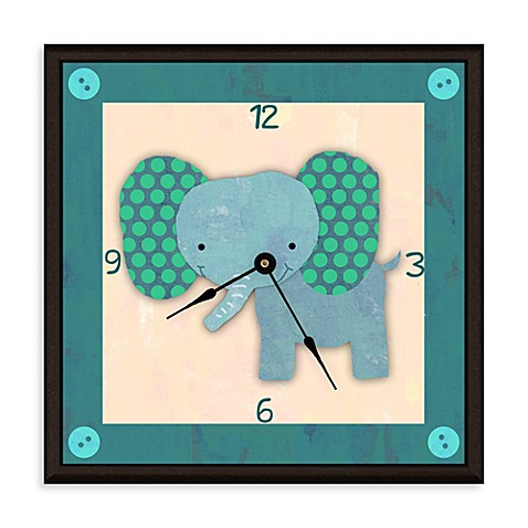 Green Leaf Art Baby Elephant Decorative Art Clock