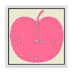 Green Leaf Art Pink Apple Decorative Clock