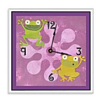 Green Leaf Art Playful Frogs Decorative Art Clock