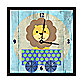 Green Leaf Art Baby Lion on a Train Decorative Art Clock