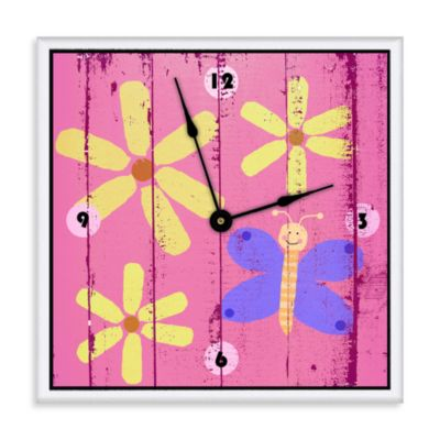 Green Leaf Art Butterflies & Flowers Decorative Art Clock