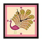 Green Leaf Art Little Peacock Decorative Art Clock