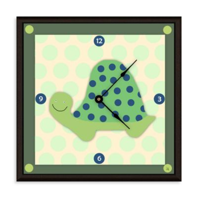 Green Leaf Art Happy Turtle Decorative Art Clock