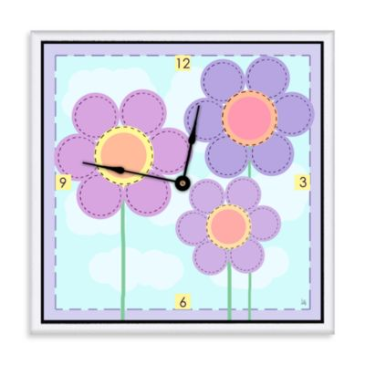 Green Leaf Art Little Flowers Decorative Art Clock