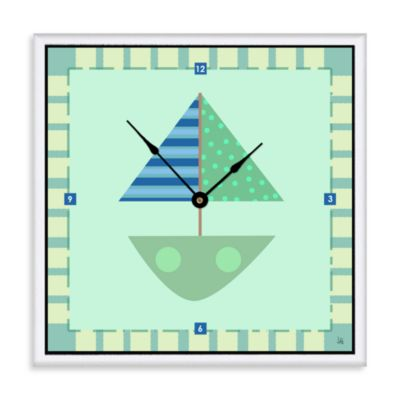 Green Leaf Art Green Baby Boat Decorative Art Clock