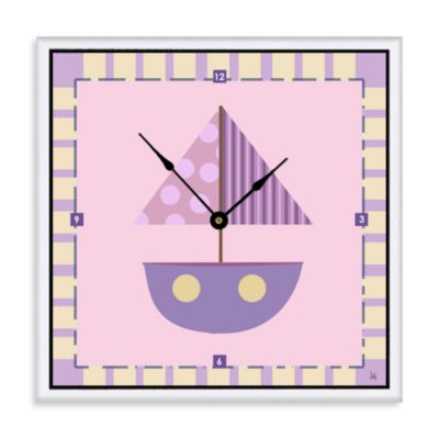 Green Leaf Art Purple Baby Boat Decorative Art Clock
