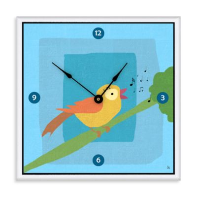 Green Leaf Art Bird Singing Decorative Art Clock