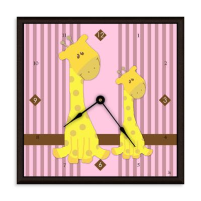 Green Leaf Art Giraffes Decorative Art Clock