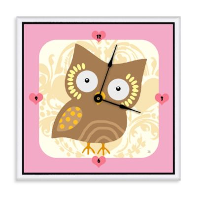 Green Leaf Art Baby Owl Decorative Art Clock