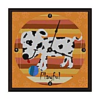 Green Leaf Art Playful Puppy Decorative Art Clock