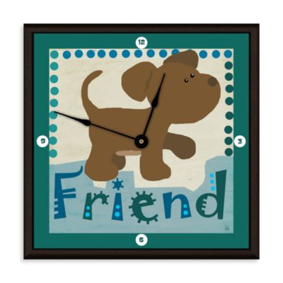 Green Leaf Art Friend Puppy Decorative Art Clock