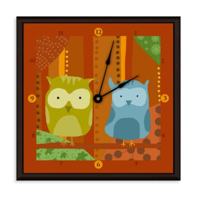 Green Leaf Art Owls I Decorative Art Clock