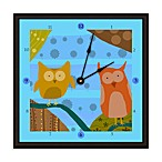 Green Leaf Art Owls II Decorative Art Clock