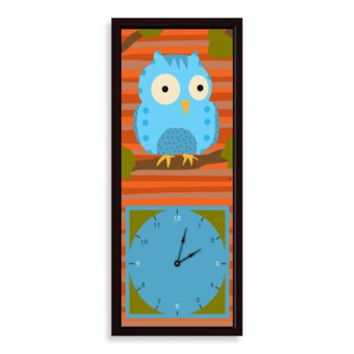Green Leaf Art Blue Owl Decorative Art Clock