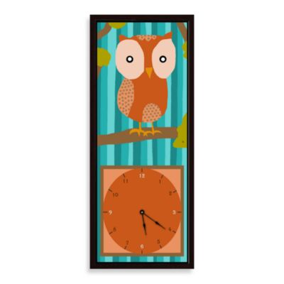 Green Leaf Art Orange Owl Decorative Art Clock