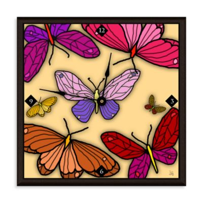 Green Leaf Art Butterfly Garden Decorative Art Clock