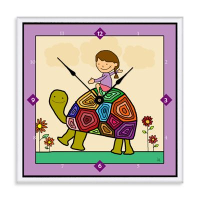 Green Leaf Art Turtle Ride Decorative Art Clock