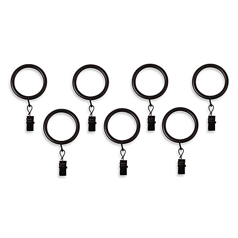 Oxford Oil Rubbed Bronze Window Curtain Clip Rings Set Of 7 Bed Bath Beyond