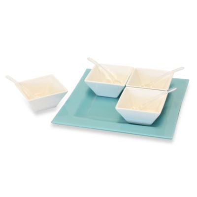 Party Time 9-Piece Blue Glass and Ceramic Serveware Set