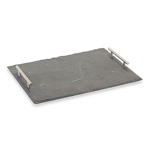 Baum Rectangular Slate Platter with Handles