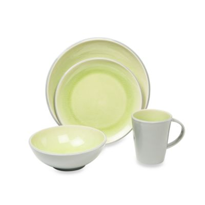 Baum Canvas Crackle 16-Piece Dinnerware Set in Lime