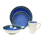 Fused Crackle Blue 16-Piece Dinnerware Set