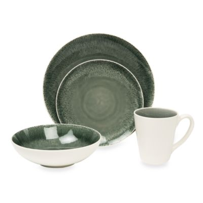 Fused Crackle Grey 16-Piece Dinnerware Set