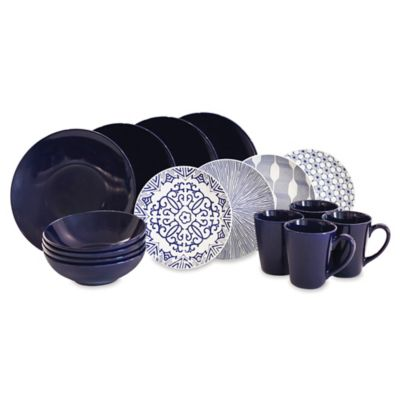Baum Brothers 16-Piece Dinner Set in Blue/White