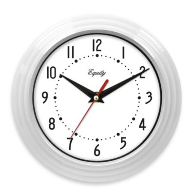 La Crosse Technology White Ribbed Equity Analog Wall Clock