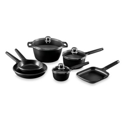 Fundix by Castey Cast Aluminum 9-Piece Cookware Set in Black