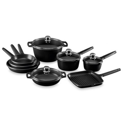 Fundix by Castey Cast Aluminum 12-Piece Cookware Set in Black