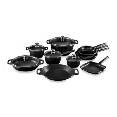 Fundix by Castey Cast Aluminum 15-Piece Cookware Set in Black