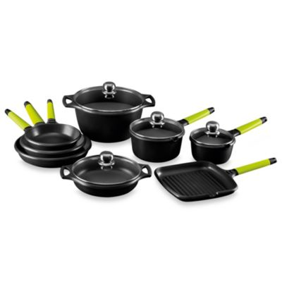 Fundix by Castey Cast Aluminum 12-Piece Cookware Set in Kiwi